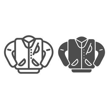 Letterman jacket line and glyph icon. High school jacket vector illustration isolated on white. Uniform outline style design, designed for web and app. Eps 10.