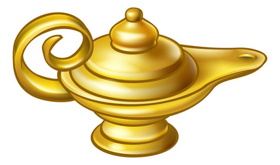 A genie style gold magic lamp like in the story or pantomime of Aladdin