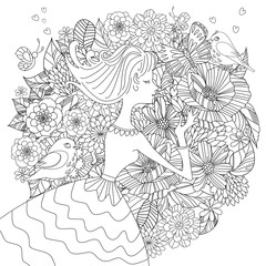 Fototapete - fancy pretty girl with flowers and birds for your coloring book