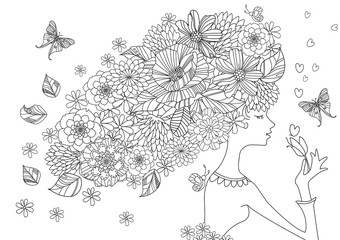 Fototapete - graceful girl with flowers in hair for your coloring book