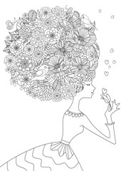 Fototapete - fashion girl with floral hair for your coloring book