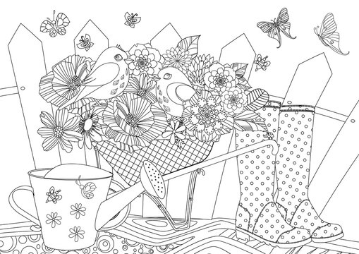 rustic landscape with blossom gardening equipment and pretty birds in for your coloring book