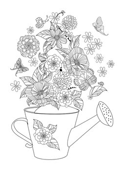 lovely flowers arrangement in watering can for your coloring page