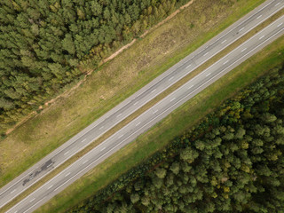 aerial photo of highway road view from above