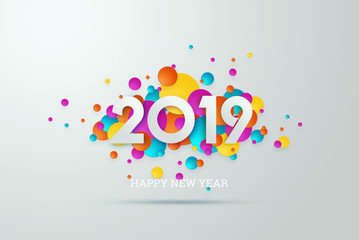Creative, new design inscription 2019 on a modern background. Light background. Happy New Year. Merry Christmas.