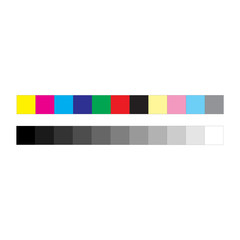 CMYK press marks color and greyscale bar, vector illustration isolated on white background.