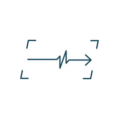 Linear Cardiogram in frame logo. Cardiology heart beat monitor. Ecg. Pulse line. Isolated vector illustration.