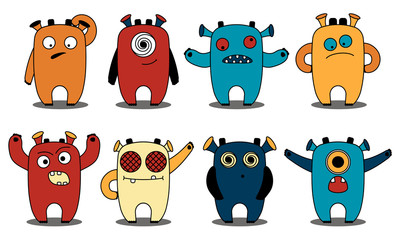 Little cute funny monsters. Vector illustration.