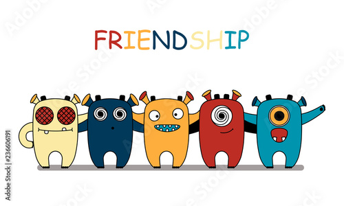 Concept Of Children S Friendship Little Cute Funny Monsters Stand