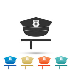 Police cap and rubber baton icon isolated on white background. Security truncheons. Police stick. Policeman uniform. Set elements in colored icons. Flat design. Vector Illustration