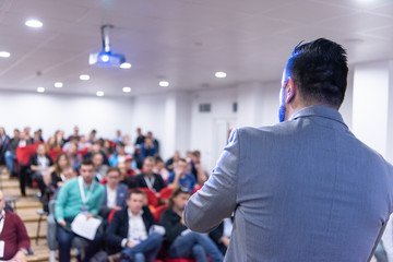 businessman giving presentations at conference room