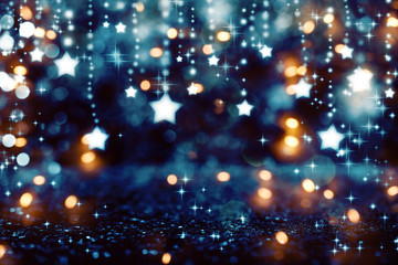 Beautiful shiny stars with abstract light background Wall mural