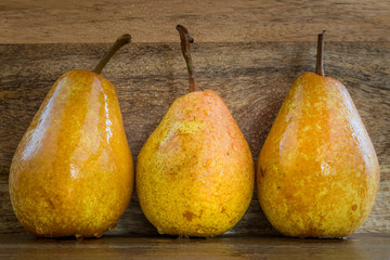 Three fresh pears