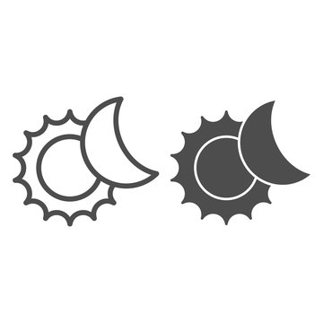 The sun and moon line and glyph icon. Solar eclipse vector illustration isolated on white. Astronomy outline style design, designed for web and app. Eps 10.