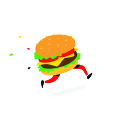 Icon running hamburger. Vector. Logo for fast food and food delivery. Funny illustration of a sandwich with a cutlet. Cartoon badge, emblem for the company. Sticker and mascot for the store site.