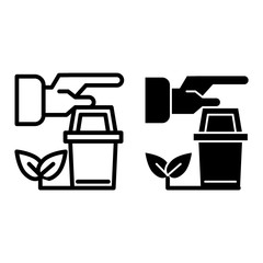 Human hands and pot with sprout line and glyph icon. Bucket and plant vector illustration isolated on white. Gardening outline style design, designed for web and app. Eps 10.
