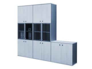 modern wooden bookcase on white background