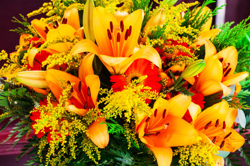 bouquet of gerbera flower and yellow lilies