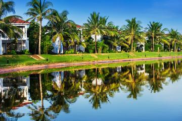 beautiful villas on the shore of lake