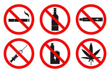 NO SMOKING, NO VAPING, NO HEMP, NO DRUGS, NO ALCOHOL sign. Vector.