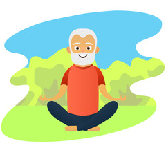 Happy old men dressed in sports clothing practicing yoga exercises. Cute grandfather. Active elderly man. Cartoon character. Vector illustration