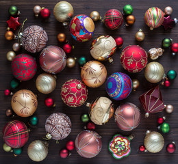 Christmas decorations on dark wooden desk