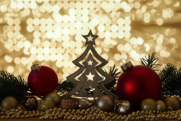 Christmas symbols decoration red glass balls and bokeh lights
