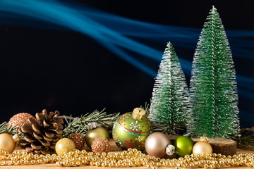 Christmas decoration fir trees with glass balls