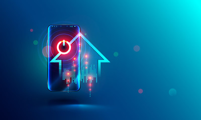 Smart home abstract concept. intelligence system power button on screen mobile phone. Smartphone controls power of households devices. Abstract illustration about home automation.