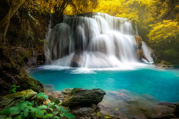 Huay mae khamin waterfall, this cascade is emerald green and popular in Kanchanaburi province, Thailand. Wall mural