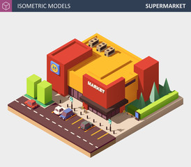 Isometric Vector Illustration of a Supermarket Grocery Store.