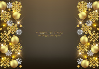 Merry Christmas Happy New Year decorative postcard, shiny baubles glitter snowflakes background, vector illustration