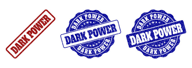 DARK POWER scratched stamp seals in red and blue colors. Vector DARK POWER labels with dirty style. Graphic elements are rounded rectangles, rosettes, circles and text titles.