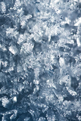 Macro look of snowflakes, snow crystals. Vertical abstract winter background