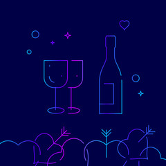 Wine Bottle and Glasses Vector Line Icon. Wedding Alcohol Gradient Symbol, Pictogram, Sign. Dark Blue Background. Light Abstract Geometric Background. Related Bottom Border