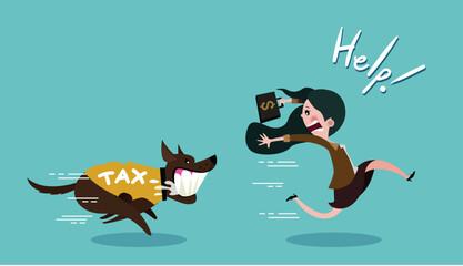 Business woman carrying dollar and run away the dog in shirt tax, vector cartoon