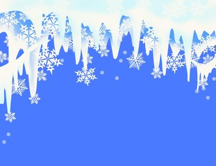 snow flakes and icicles in snowy layered winter design with copy space for invitation, announcements, poster,  sales flyer, deep blue light blue, and white background
