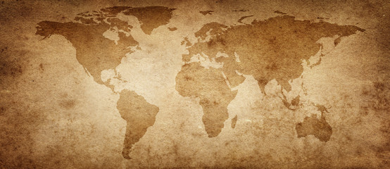 Fototapete - Old map of the world on a old parchment background. Vintage style. Elements of this Image Furnished by NASA.