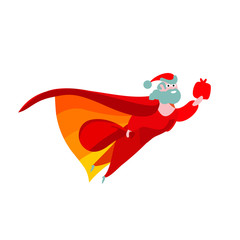 Happy Christmas red vector. Flat santa claus superhero, bag simplified. For design person cartoon collection illustration