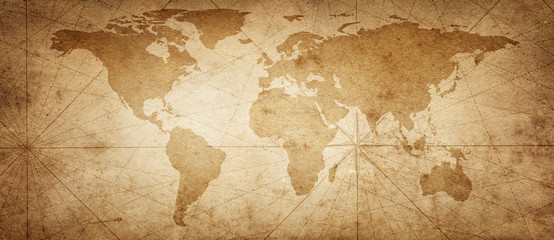 Poster World Map Old map of the world on a old parchment background. Vintage style. Elements of this Image Furnished by NASA.