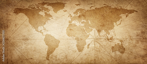 Wall mural Old map of the world on a old parchment background. Vintage style. Elements of this Image Furnished by NASA.