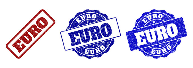 EURO grunge stamp seals in red and blue colors. Vector EURO watermarks with grunge texture. Graphic elements are rounded rectangles, rosettes, circles and text labels.