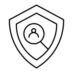 User protection thin line icon. Shield and user search vector illustration isolated on white. User security outline style design, designed for web and app. Eps 10.