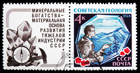 Prospector with Crystals, Soviet Geology serie, circa 1968
