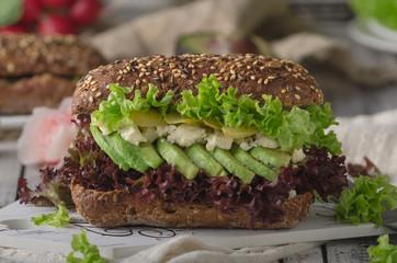 Homemade avocado lettuce sandwich