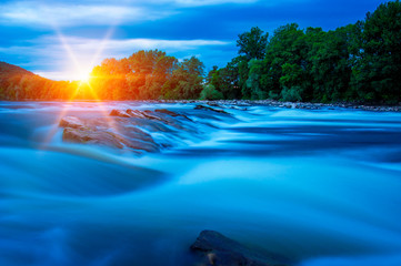 River water and sunset
