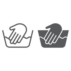 Hand washing line and glyph icon, laundering and wash, hand sign, vector graphics, a linear pattern on a white background.