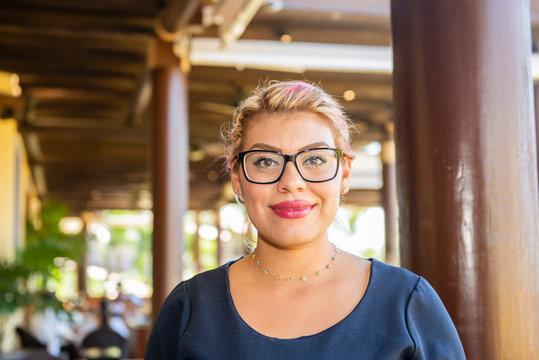 Happy, Smiling, Friendly & Beautiful Mexican Woman Working in a Resort Hotel in Punta de Mita, Nayarit, Mexico