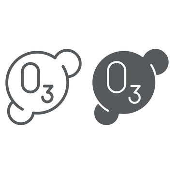 Ozonation line and glyph icon, formula and ozone, molecule sign, vector graphics, a linear pattern on a white background.