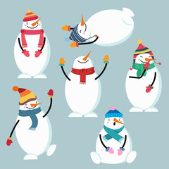 Beautiful flat design snowman collection